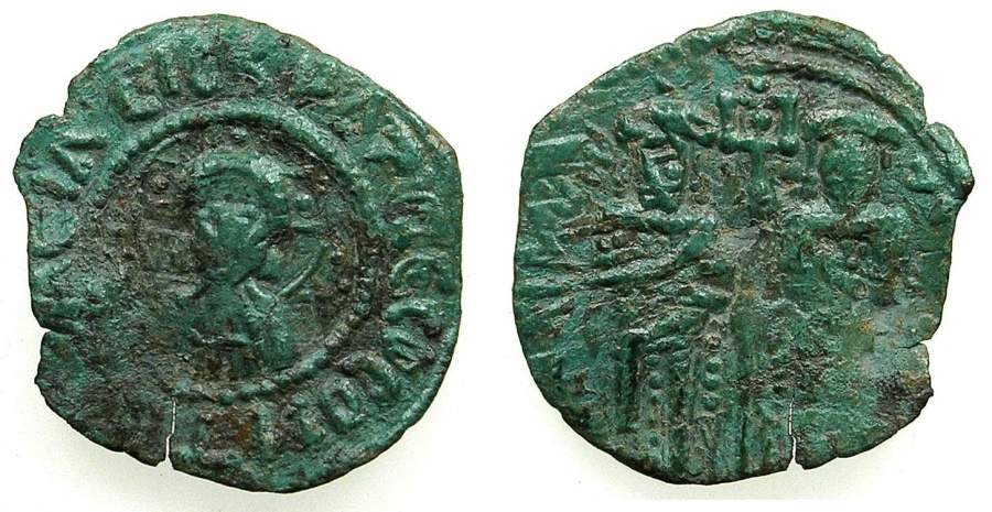Ancient Coins - BYZANTINE EMPIRE.Andronicus II and Michael IX AD 1294-1320.AE.Assarion, class X.Mint of Constantinople.
