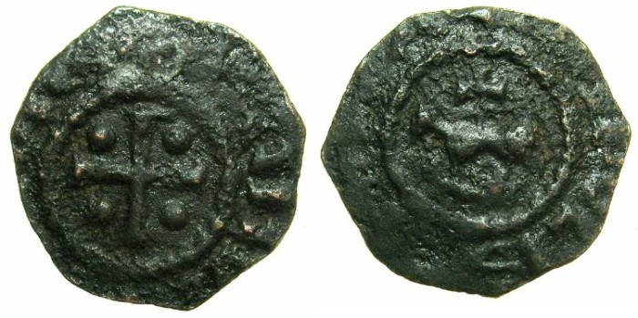 Ancient Coins - CRUSADER STATES.TRIPOLI.Raymond II AD 1137-1152.AE.Fraction.~#~Horse and cross ( or Pascal lamb and cross ).