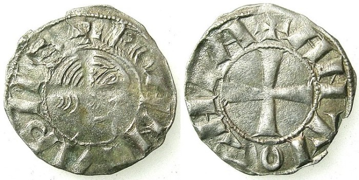 "Ancient Coins - CRUSADER. ANTIOCH.Bohemond III AD 1149-1163.Bi.""Bare head"" Denier.Class B"