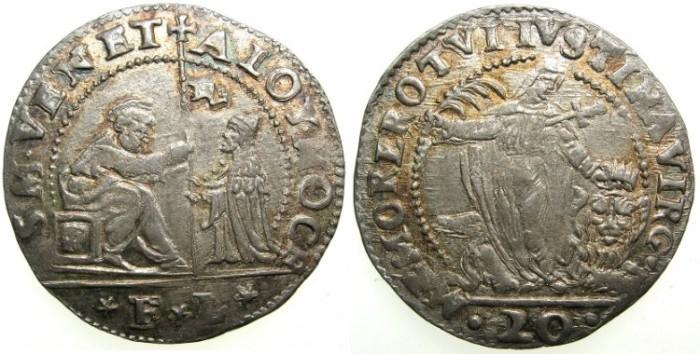 Ancient Coins - ITALY.VENICE.Doge Alvise I Mocenigo AD 1570-1577.AR.20 Soldi.Assayer F-L ( Francesco Lando )
