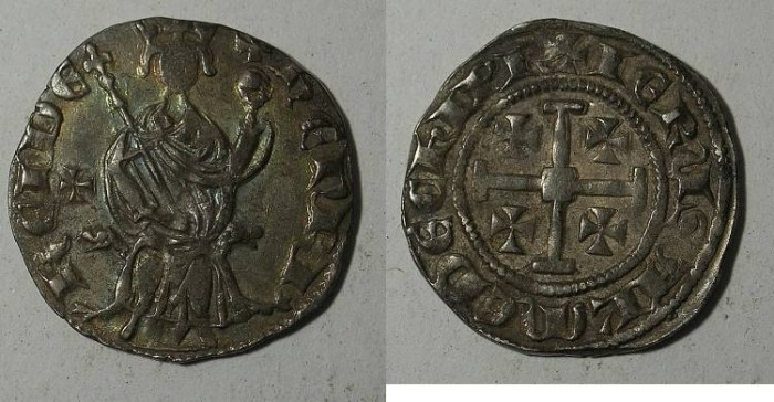 Ancient Coins - Cyprus Henry II 1285 1310 AR Gros Grand Cross in field left