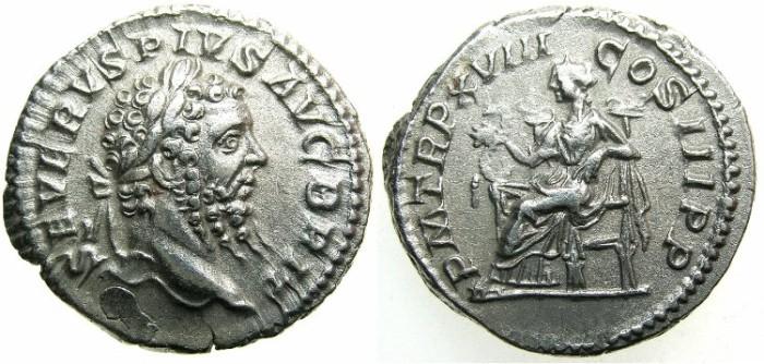 Ancient Coins - ROMAN.Septimius Severus AD 193-211.AR.Denarius.2nd issue.AD 210.~~~SALUS.