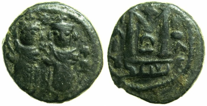 Ancient Coins - ARAB-BYZANTINE.Anonymous 7th Cent AD.BAALBEK ( HELIOPOLIS ).AE.Fals.~~~Two standing imperial figures.