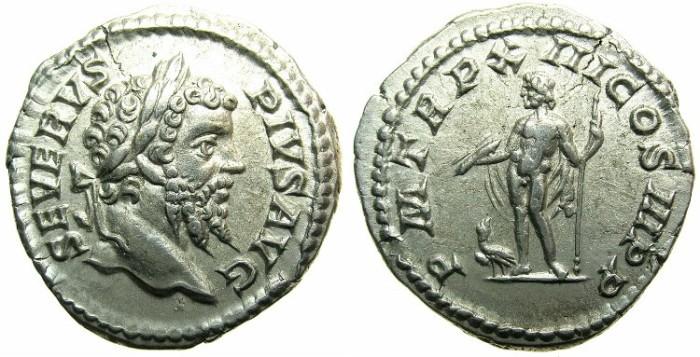 Ancient Coins - ROMAN.Septimius Severus AD 193-211.AR.Denarius AD 205.Jupiter standing.