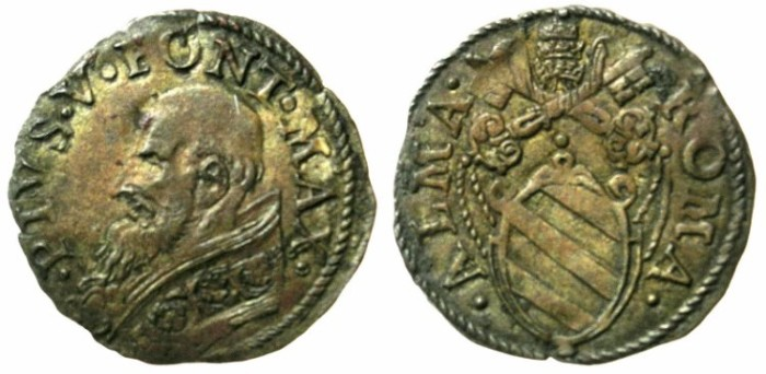 Ancient Coins - ITALY.VATICAN.Pope Saint Pius V AD 1566-1572.AR.Double Quattrino.Bust of Pope-Saint.