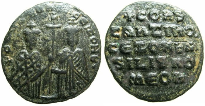 Ancient Coins - BYZANTINE EMPIRE.Constantine VII Porpyrogentus AD 913-959, regency issue under Zoe AD 914-919.AE.Follis.