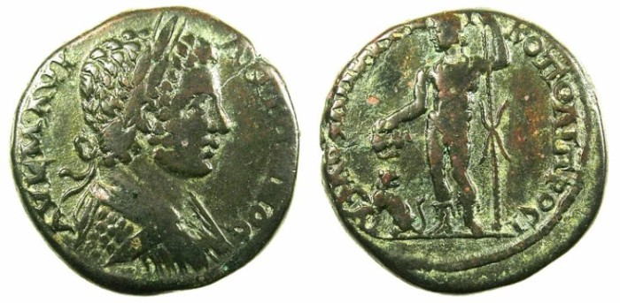 Ancient Coins - MOESIA INFERIOR.Nikopolis ad Istrum.Caracalla Augustus AD 198-217.AE.26.Dionysos with Panther