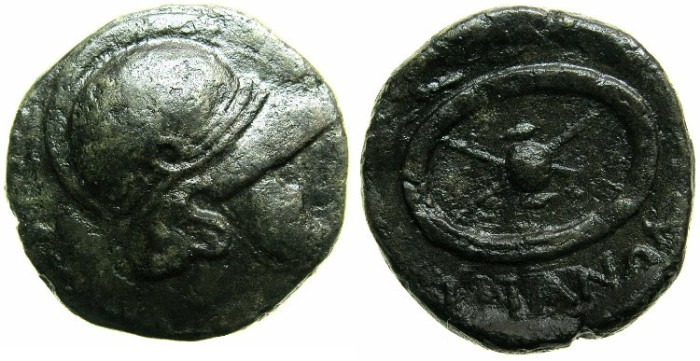 Ancient Coins - THRACE.MESSEMBRIA.Mid 3rd Cent BC.AE.18.5mm.~~~Thracian helmet.~#~Celtic shield.~~~A well engraved example of the Thracian helmet with cheek piece.