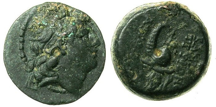 Ancient Coins - SYRIA.ANTIOCH.Tryphon C.141-138 BC.AE.17.Bust right.Macedonian helmet with spike