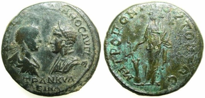 Ancient Coins - MOESIA INFERIOR.TOMIS.Gordian III ( AD 238-244 ) and Tranquillina AD 241-244.AE.25.~#~Tyche standing