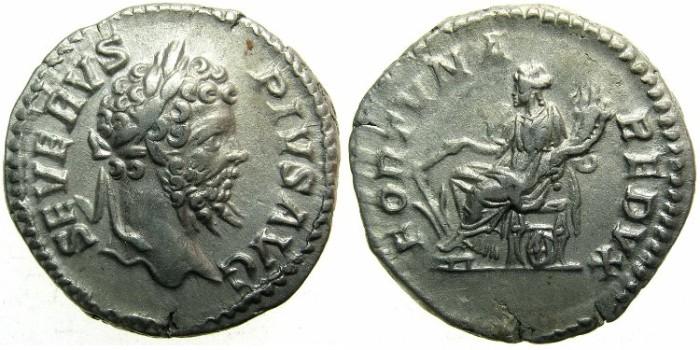Ancient Coins - ROMAN.Septimius Severus AD 193-211.AR.Denarius, undated c.202-210.Fortuna seated.