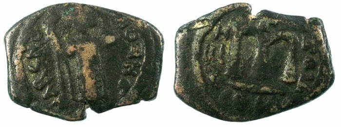 Ancient Coins - ARAB-BYZANTINE.Anonymous 7th cent AD.AE.Follis.Unknown location.