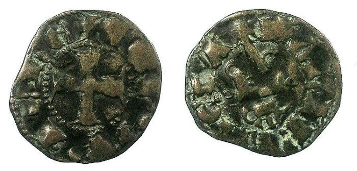 Ancient Coins - CRUSADER.Achaia.John of Gravina 1322-1333.Bi.Denier.Group A3.Clarencia mint.
