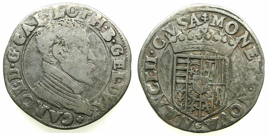 World Coins - FRANCE.Dukes of LORRAINE.Charles III 1545-1608.AR.Testone.No date.Mint of NANCY