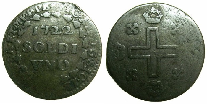 World Coins - ITALY.SARDINIA.Vittorio Amadeo II King of Sardinia 1718-1730.Billon Soldo 1722.1st type.Mint of TURIN.~*** Extremely rare.