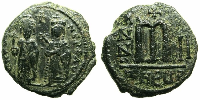 Ancient Coins - BYZANTINE EMPIRE.Phocas AD 602-610.AE.Follis.Year 2.Mint of THEOUPOLIS