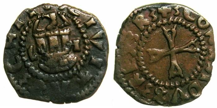 Ancient Coins - CRUSADER STATES.CHIOS.The Mahona.Lorenzo Giustiani Banca Circa 1548.AE.Denaro.~~~Ex Alistair Lilburn collection.