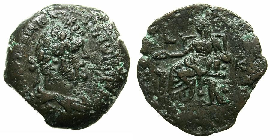 Ancient Coins - EGYPT.ALEXANDRIA.Antoninus Pius AD 138-161.AE.Drachma, struck AD 156/57.~#~.Kybele enthroned.