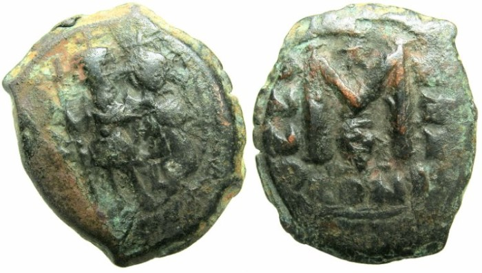 Ancient Coins - BYZANTINE EMPIRE.Heraclius AD 610-641.AE.Follis, struck AD 639/40.Mint of CONSTANTINOPLE.