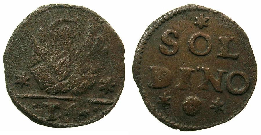 World Coins - CRETE ( Regno di Candia ) under VENICE.Anonymous issue.AE.4 Tornesi( soldino ).Struck circa 1611-1619.