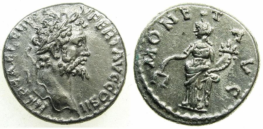 Ancient Coins - ROMAN.Septimius Severus AD 193-211.AR.Denarius.Struck AD 194-195.Mint of EMESA.~#~.Moneta standing.