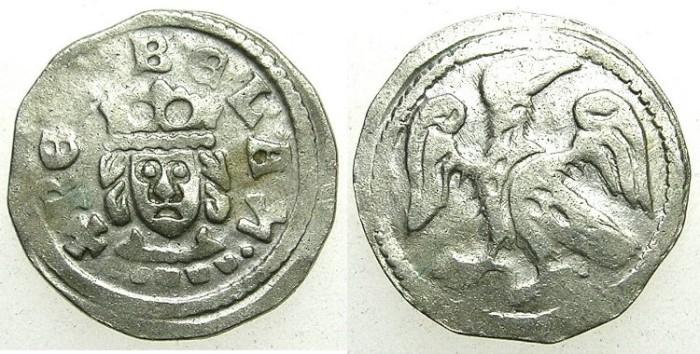 """Ancient Coins - HUNGARY.Bela IV AD 1235-1270.AR.Denar.Hebrew letter """"HET"""" end legend."""