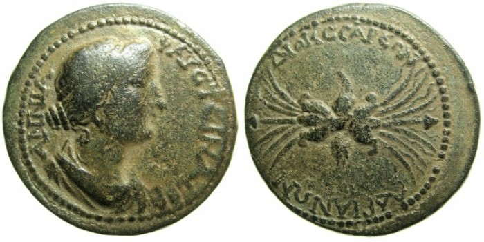 Ancient Coins - CILICIA.DIOCAESAREA.Annia Faustina, wife of Marcus Aurelius.Died AD 176.AE.27.5mm.~##Wonderful Thunderbolt.