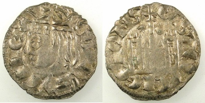 Ancient Coins - SPAIN.CASTILLE AND LEON.Sancho IV 1284-1295.Bi.Denaro.Mint of Coruna.