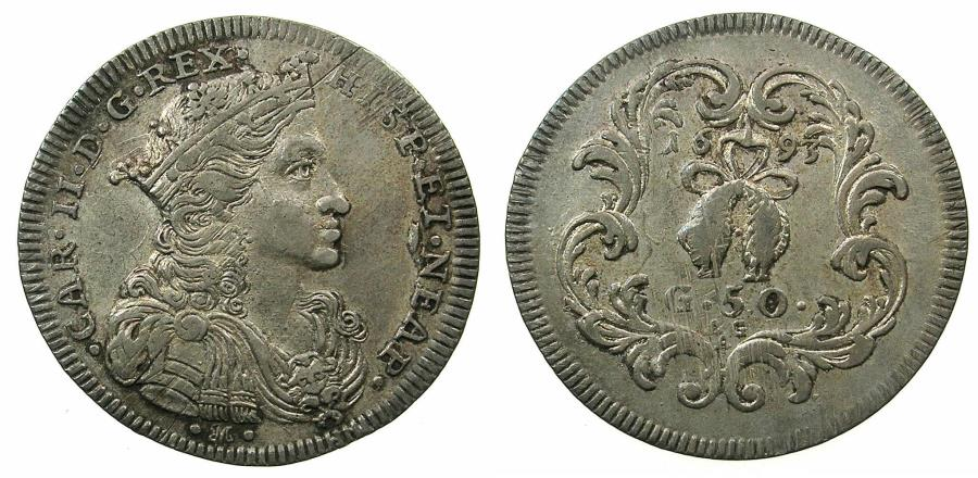 World Coins - ITALY.NAPLES.Charles II of Spain and Naples AD 1665-1700.AR.Mezzo Ducato ( 50 grana ) 1693.