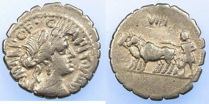 Ancient Coins - ROME.REPUBLIC.C.Marius c.f.Capito 81 BC.AR.Denarius.Ceres Rev.Ploughman.