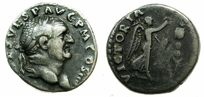 Ancient Coins - ROME.Vespasian AD 69-79.AR.Denarius, Judaea capta series, struck AD 72-73.