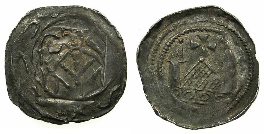 World Coins - ITALY.Patriachy of AQUILEIA. Anonymous 12th cent AD.Denaro FRIESACH