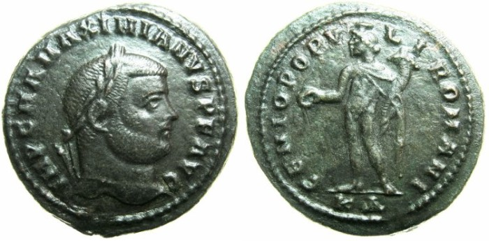 Ancient Coins - ROMAN.Galerius AD 305-311.AE.Follis.Mint of CYZICUS.~#~Genius with modius on head.