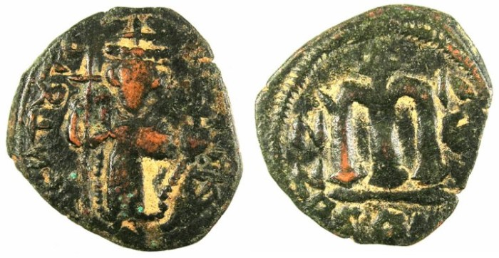 Ancient Coins - PSEUDO-BYZANTINE.7th Cent AD.AE.Follis, after Constans II ( AD 642-668). standing imperial figure.