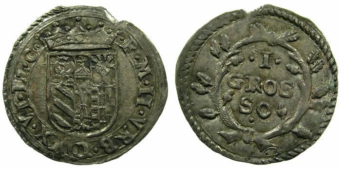 World Coins - ITALY.URBINO.Francesco Maria II Della Rovere AD 1574-1624.AR.Grosso, Small module.