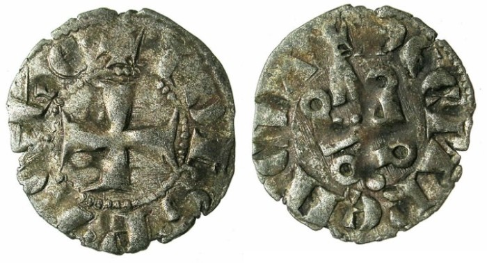 Ancient Coins - CRUSADER.ACHAIA.Jean of Anjou-Gravina 1318-1333.Bi.Denier.Type C1