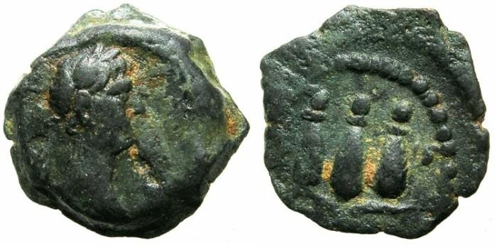Ancient Coins - EGYPT.ALEXANDRIA.Trajan AD 98-117.unepigraphic issue.AE.Dichalkon struck AD 112/113.~#~Hemhem crown.