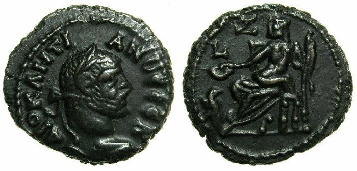 Ancient Coins - EGYPT.ALEXANDRIA.Diocletian AD 284-305.Billon Tetradrachm, struck AD 290/291.~#~.Zeus enthroned.