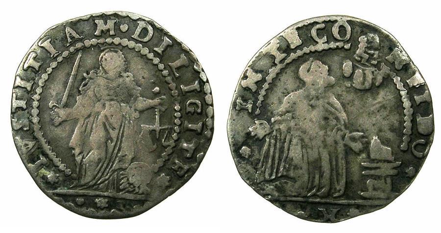 World Coins - ITALY.VENICE.Alvise IV Mocenigo  AD 1763-1778, anonymous issue.AR.Mezza Liretta.No date. Doge in the stance of Saint Francis recieving the Stigmata.
