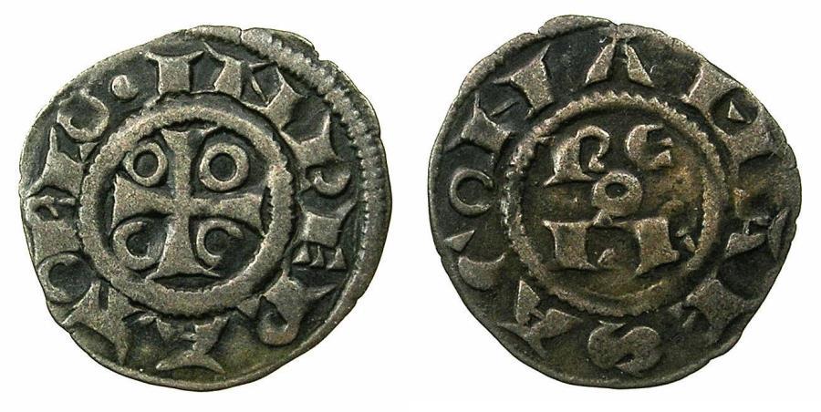 World Coins - ITALY.SAVONA, or FRANCE. MARSANNE.Billon Denier 13th cent.