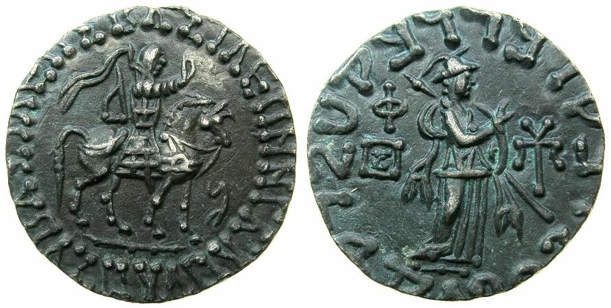 Ancient Coins - INDO SKYTHIAN.Azes circa 58-12BC.AR.Tetradrachm.~#~.Athena standing right.