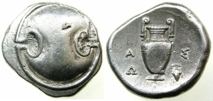 Ancient Coins - BOEOTIA.THEBES.AR.Stater struck circa 395-338.Magistrate ASO(P). circa 363-338 BC.