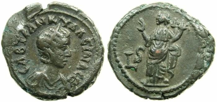 Ancient Coins - EGYPT.ALEXANDRIA.Tranquillina, wife of Gordian III AD 241-244.Billon tetradrachm.Struck AD 242/43.~#~.Homonia standing.