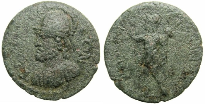 Ancient Coins - PISIDIA.TERMESSUS MAJOR.Circa 3rd cent AD.AE.25.~~~Bearded bust of Solymos wearing crested Corinthian helmet.