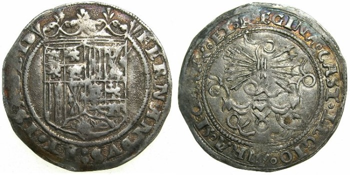 World Coins - SPAIN.Ferdinand and Isabella AD 1469-1504.AR.Real.Mint of GRANADA.