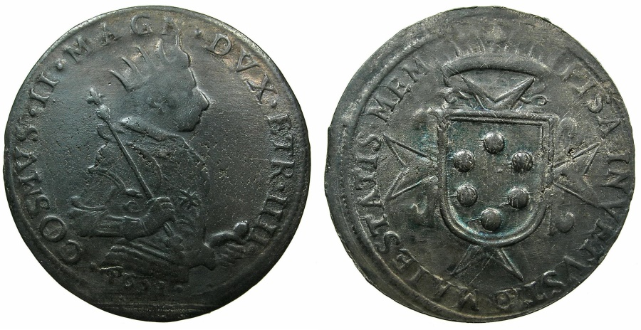World Coins - ITALAY.TUSCANY.Cosimo II De Medici 1609-1621.AR.Tallero 1621.Mint of PISA.****Struck in the final year of his rule.
