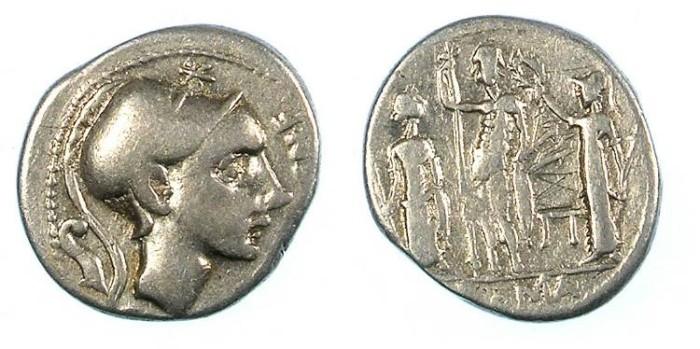 Ancient Coins - ROME.REPUBLIC.Cn.Cornelius Cn.f.Blasio 112 or 111 BC.AR.Denarius.Mars / Jupiter