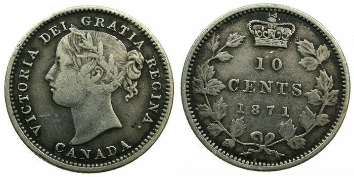 World Coins - CANADA.Victoria.AR.10 Cents 1871.