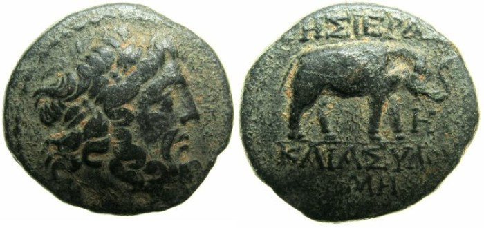 Ancient Coins - SYRIA.SELEUCIS AND PIERIA.APAMEA.1st cent BC.AE.20.8mm.~/~. Zeus.~#~.Elephant.