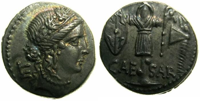 Ancient Coins - ROME. Republic. Julius Caesar 49-44 BC AR Denarius.~~~Clementia.~#~.Trophy of Gallic arms.****SUPERB GRADE AND TONE.